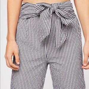 Free People Plaid Tie Pants